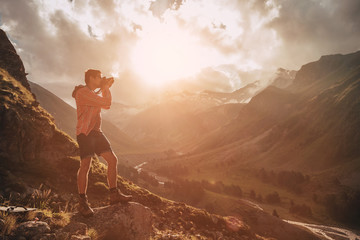 Man Traveler hiking Travel Lifestyle concept beautiful mountains landscape on background Summer journey adventure vacations outdoor