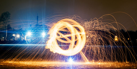 Long exposure photography with the fire ball at night