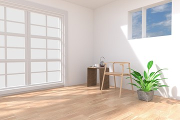 White room with chair and ornamental plants,3D rendering