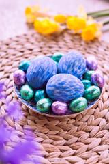 Handmade Violet and Blue Easter Eggs