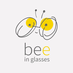 round eye glasses Logo.Linear hand draw cartoon smiling cute little bee.Kawai bug icon.Flat sign.Business internet concept.Trendy optic symbol design.vector illustration isolated on white background
