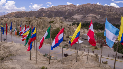 International Flags at Valle de la Luna, La Paz, Bolivia