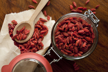 Goji berries on the wooden table