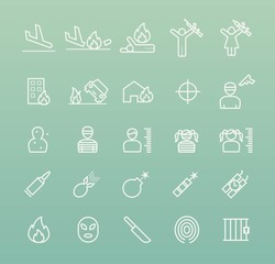 Set of Quality Universal Standard Minimal Simple Terrorism White Thin Line Icons on Color Background