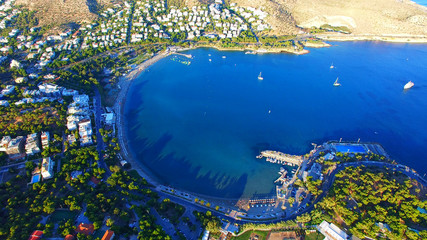 Luxury Athens neighborhoods seaside view vouliagmeni from above beach