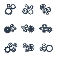 Set of outline icons of mechanical gears.