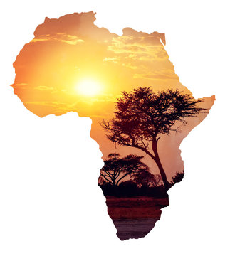 African sunset with acacia, Map of africa concept
