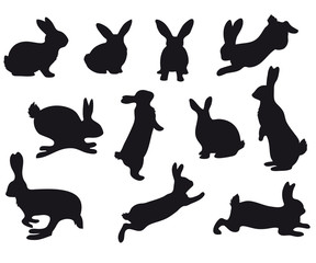 Silhouettes of Easter bunnies black