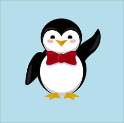 Little cute Penguin waving wing