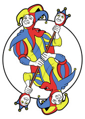 Reversible Joker displayed inside a circle. He holds a strange scepter with both his. Red, yellow, blue and white are the main colours of this illustration.