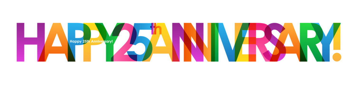 """""""HAPPY 25th ANNIVERSARY"""" Colourful Vector Letters Icon"""