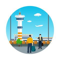 Icon Airport , View on Control Tower through the Window from a Waiting Room with People , Travel and Tourism Concept, Flat Design, Vector Illustration