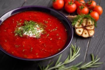 Red borscht soup ukrainian traditional dish