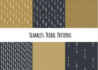 Set of modern seamless hand drawn geometric tribal patterns. Vector navajo design.