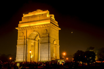 Wall Mural - View of India Gate by night, New Delhi, India.