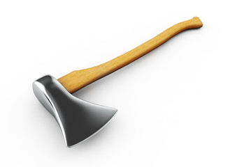3d render  Axe with wooden handle on a white background
