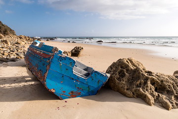 Small boat used for illegal immigration. Found on the beaches of Tarifa, Cádiz