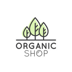 Vector Simple Icon Style Illustration Logo for Organic Shop or Market, Minimal Simple Badge with Leafs, Tree, Field and Herbs