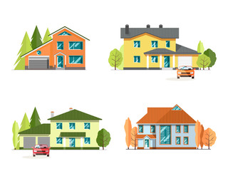 Set of detailed colorful cottage houses. Family home. Flat style modern buildings. Vector illustration