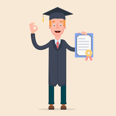 Student holds a certificate. vector. student. smile, flat.