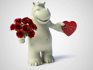 3D rendering of romantic cartoon hippo.