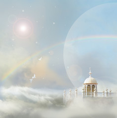 doves arriving at tower in clouds with rainbow and mysterious moons