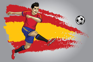Spain soccer player with flag as a background