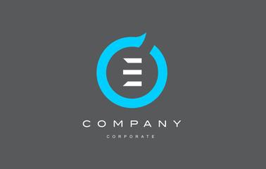 E letter alphabet blue circle logo vector design