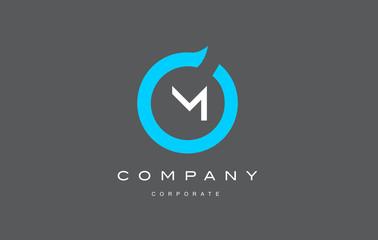 M letter alphabet blue circle logo vector design