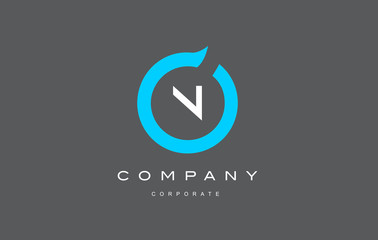 N letter alphabet blue circle logo vector design