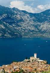 Scenic view of Malcesine on beautiful Garda lake, Italy