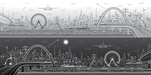 Fototapete - Industrial and transport panorama, urban skyline, modern landscape, day and night city, airplane fly, train on the bridge, vector design art