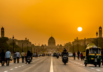 Wall Mural - Sunset near Rashtrapati Bhavan, Presidential Residence, New Delhi, India.