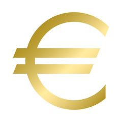Euro currency symbol in gold color. Vector. Logo.