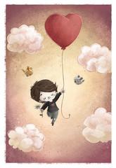 niño con globo de corazon volando
