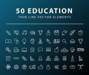 Set of 50 Minimal Thin Line Education Icons on Dark Background. Isolated Vector Elements