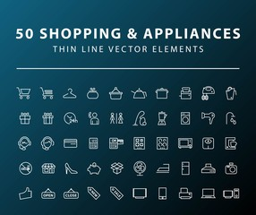 Set of 50 Minimal Thin Line Shopping and Home Appliances Icons on Dark Background. Isolated Vector Elements