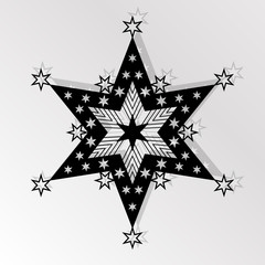 Cutting card. Laser cut  star vector panel. Cutout silhouette with star pattern. Filigree star pattern for paper cutting.