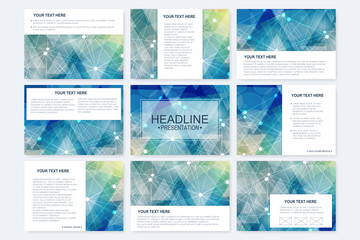 Big set of vector templates for presentation slides. Modern graphic background structure molecule and communication. Scientific pattern atom DNA. Medical, science, chemistry design.