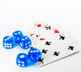 blue dices and cards on white background