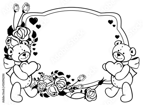 """Oval label with outline roses and cute teddy bear holding ..."