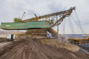 Giant excavator in surface coal mine