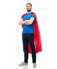 man in red superhero cape