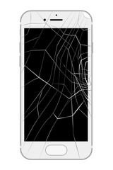 画面が割れたスマートフォン バキバキ