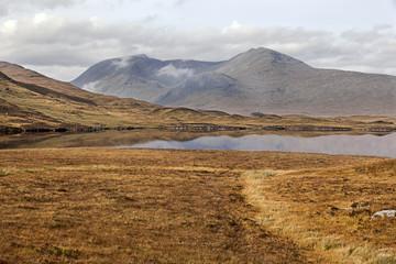 Lake in Rannoch Moor near Glen Coe in Scottish Highlands