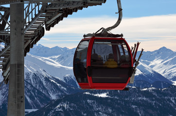 red cable car in the skiing resort in Alps, Serfaus-Fiss-Ladis, Austria Wall mural