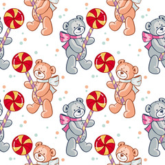 Seamless pattern with hearts and teddy bears. Raster clip art.