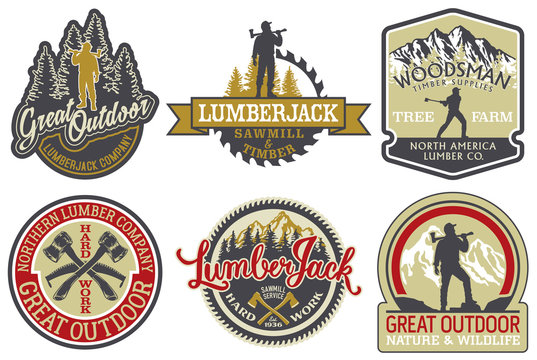 The great outdoor lumberjack and woodsman vector badges for print or embroidery