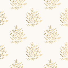 Floral golden background, gold and white pattern.