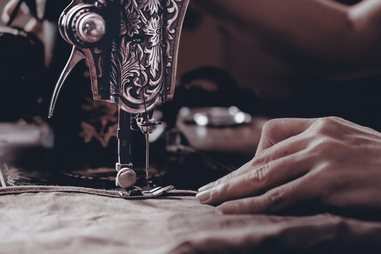 Sewing machine / View of sewing machine. Vintage style.